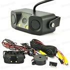 2LED 3 in 1 Car Rear View Camera CCD Reverse Backup & Parking Sensor for All Car