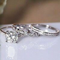 2.50 Ct Cushion Cut Diamond 3 pcs Engagement Bridal Ring Set 14K White Gold Over