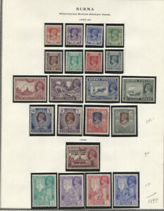 BURMA 1938-40 GEORGE VI ISSUES MINT ON ALBUM PAGE #18A-33 34 66-69 LH or MHR #32