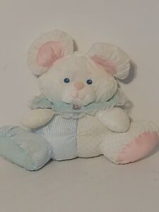 """Vintage Fisher Price Puffalumps 9"""" White Bear Baby Mouse Blue Stripe Rattle"""