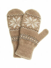 Women's Knit Wool Blend Brown Mittens with White Snowflake Pattern (US 7 / RU18)