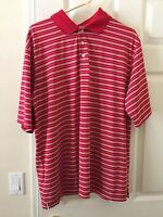 Cypress Club Performance Shirt XL Polo Golf Short Sleeve Red White Stripes K16