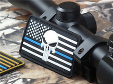 PUNISHER SKULL USA AMERICAN FLAG TACTICAL MORALE DARK OPS BLUE LINE RUBBER PATCH