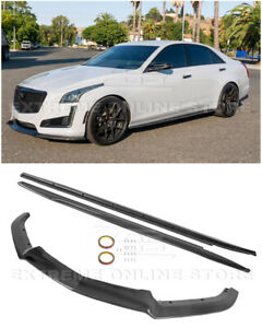 For 14-19 Cadillac CTS | CARBON FIBER Package Front Lip Splitter & Side Skirts
