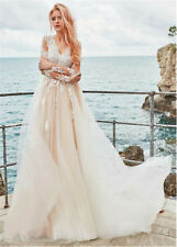 V Neck Champagne Long Sleeve A Line Wedding Dress Appliques Tulle Bridal Gown
