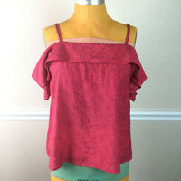 Anthropologie Maeve Womens Top Mandalay Off Shoulder Ruffle Blouse Pink Size M