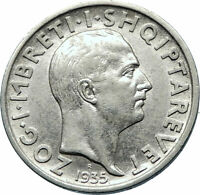 1960 ALBANIA King ZOG I Genuine Antique OLD Silver 1 Frang Albanian Coin i71881