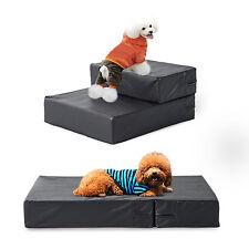 PawHut PU Pet Stairs Ladder Cat Dog 2 Steps Foldable Mat Portable Black New