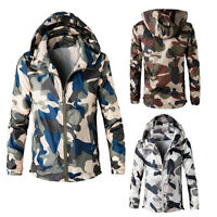 Men Hoodie Coat Jacket Outwear Cardigan Camouflage Winter Hooded Sweatshirt