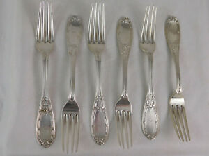 6 California Coin Silver Forks Jenny Lind FR Reichel San Fransisco 1860