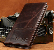 Men's Vintage Genuine Leather Long Bifold Wallet Money Card Holder Clutch Purse