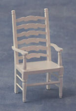 Ladderback Carver White Chair, Doll House Miniature, Seating, 1.12th Scale