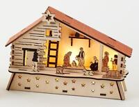 180 Degrees Wood Lighted Nativity Barn Creche Scene Holy Family and Wise Men