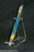 Breast Cancer Awareness Pink Ribbon Pen Aqua Acrylic 24kt Gold Finish Cross #1