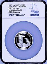 2017 P Australia HIGH RELIEF 5oz Silver Kookaburra $8 Coin NGC PF70 UC ER + OGP
