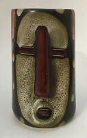 Brown Tribal Tiki Face Mask Stoneware Art Pottery Coffee Mug Cup Stein Signed