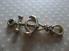 Gold Anchor & Knotted Rope Nautical Toggle Clasp Rhinestone Accents Qty 1 Set