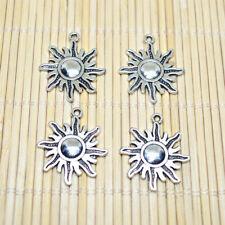 6pcs Tibetan Silver Sun Charm Pendant Bead Jewellery Making DIY 25mm