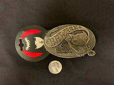 New Vintage Emily The Strange Belt Buckle Metal Beware Deadstock Cat 2003