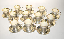 1920s 12 Demitasse Cups Saucers Meriden Brittania Lenox Sterling Silver Full Set