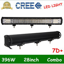 28Inch 396W Tri-row 7D+ LED Work Light Bar Flood Spot OffRoad SUV Driving 30/32""