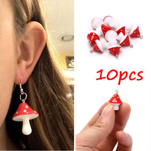 10Pcs 3D Mushroom Resin Charms Pendant DIY Craft fit for Earrings Jewelry`xh