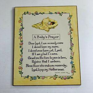 A Babys Prayer Wall Plaque Yellow Dorothea Warren Fox 1970 Flowers Nursery Decor