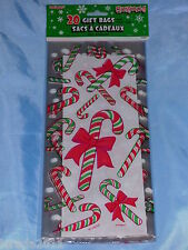 20 Cello Christmas Cellophane Bags Sweets Treats Goodies Gift Bag - 10 Styles Candy Cane