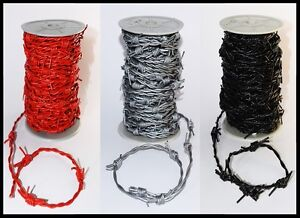 SILVER, RED OR BLACK LEATHER BARBED WIRE WOVEN REAL CORD   1M 2M 5M 10M 20M