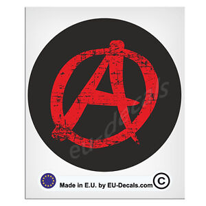 100mm-4'' Round A anarchy symbol Distressed Laminated Decal Sticker hotrod bobbe