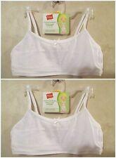 NWT Girls HANES L White Crop Top Pullover Cotton Spandex Training Bra~4 Bras