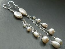 Alex Polizzi Style Long Earrings ~ White Freshwater Pearls & 925 Sterling Silver