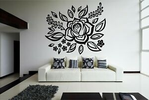 Rose Leaves Swirl Cut Vinyl Wall Art Transfer Mural Available in 21 Colours