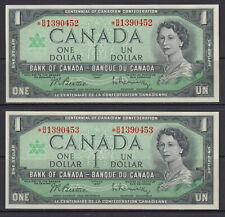 1967 BANK OF CANADA $1 DOLLAR *B/M 1390452 - *B/M 1390453 UNC REPLACEMENT NOTES