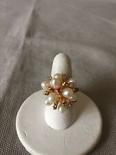 Vintage Pearl Cluster Ring Size 5-3/4 Yellow Gold