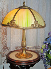 ANTIQUE ML CO SLAG GLASS ELECTRIC TABLE LAMP  6 PANEL SLAG GLASS PANEL LAMP