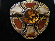 Large Scottish Celtic Vintage MIRACLE Citrine Agate Glass Brooch