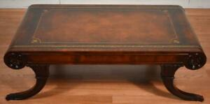 1910s Antique Weiman English Regency Mahogany & Leather top coffee table