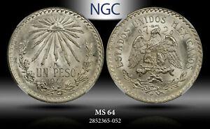 1944-Mo MEXICO SILVER 1 PESO NGC MS64