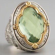 Vintage Women Jewelry White Gold Plated Peridot Ring Engagement Bridal Size 6-10