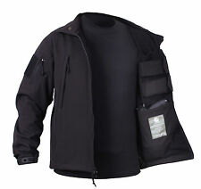 ROTHCO 55385 BLACK CONCEALED CARRY SOFT SHELL JACKET WATERPROOF SIZES S TO 4X