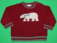 12 18 Euc Janie and Jack Icebound Adventure Holiday Red Polar Bear Sweater Boys