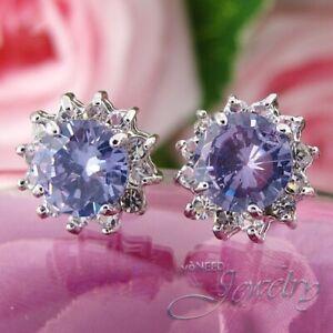 Silver Lavender Amethyst & CZ Flower Sun Stud Earrings with Anti Tarnish Coating