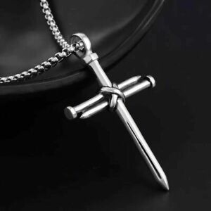 Mens Silver Christ Jesus Nail Rope Cross Pendant Necklace Stainless Steel Chain