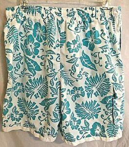 Island Joe Mens Swim Trunks Size XL Board Shorts White and Turquoise Tropics