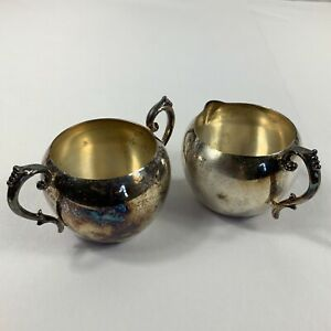 Vintage Federal Silver Company Small Sugar Bowl And Creamer Pitcher Set
