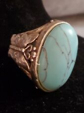 Lucky Brand Faux Turquoise Cocktail Ring Butterfly Edges Size 8
