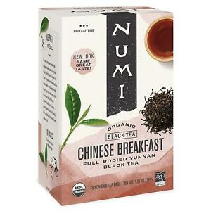 Numi Organic Tea Chinese Breakfast, 18 Count Box of Tea Bags, Yunnan Black Tea (