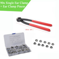 Car Ear Clamp Pincer+90PCS 5.3-22.6mm Stainless Steel Hose Clamp Fastners Set