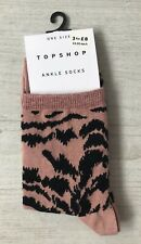 Ladies/Girls Dusky Pink Animal Print Patterned Cotton Ankle Socks